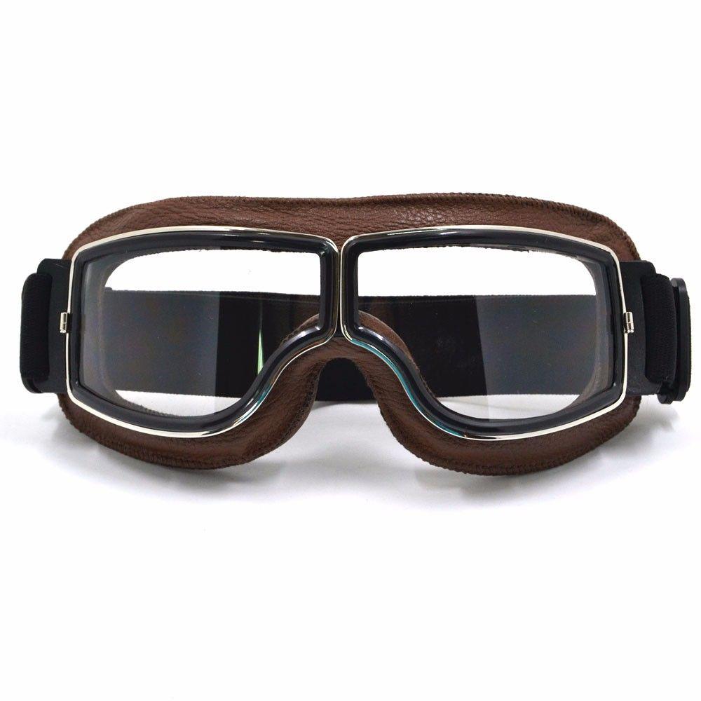 Óculos - Google - Old School - Estilo Aviador - Couro Marrom