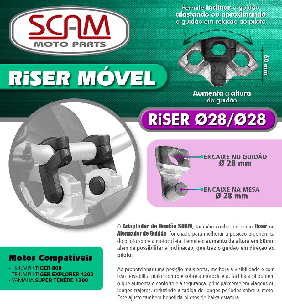 Riser / Alongador de Guidão Triumph Tiger 800  & TIGER 1200