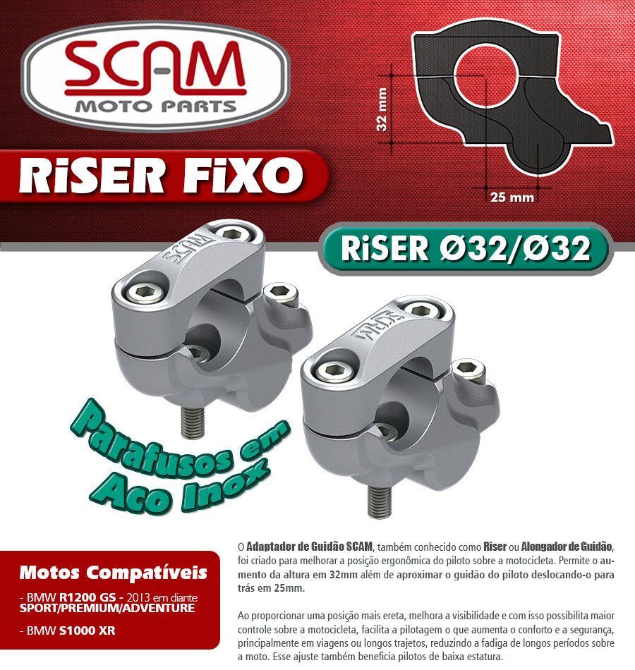 Riser Fixo / Alongador de Guidão BMW R1200 GS  - Anos 2013 em Diante