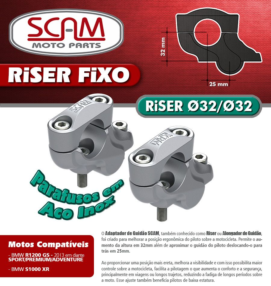 Riser Fixo / Alongador de Guidão BMW S1000 XR