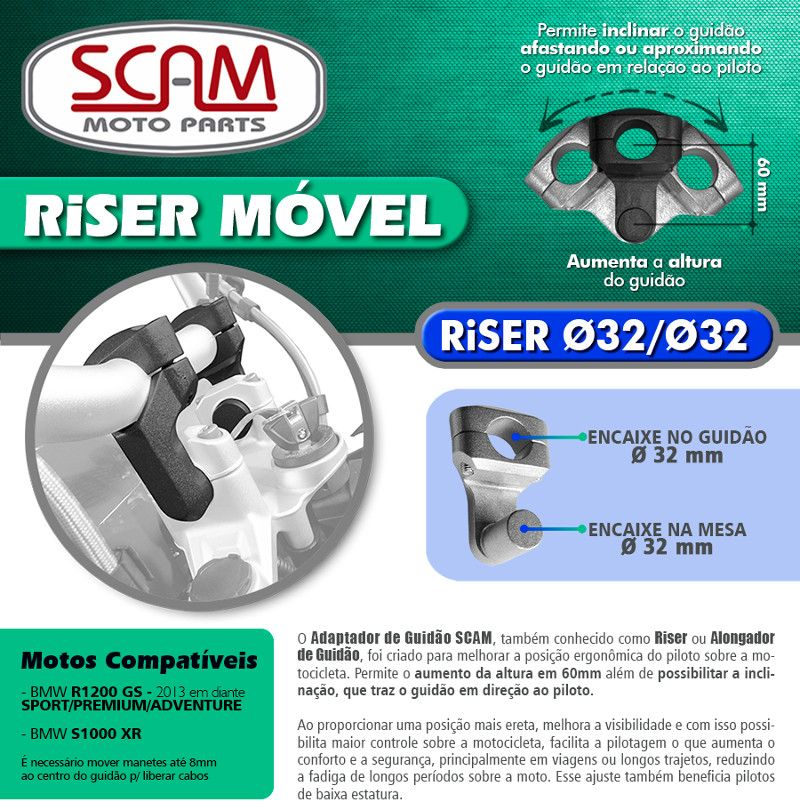 Riser Móvel / Alongador de Guidão BMW S1000 XR