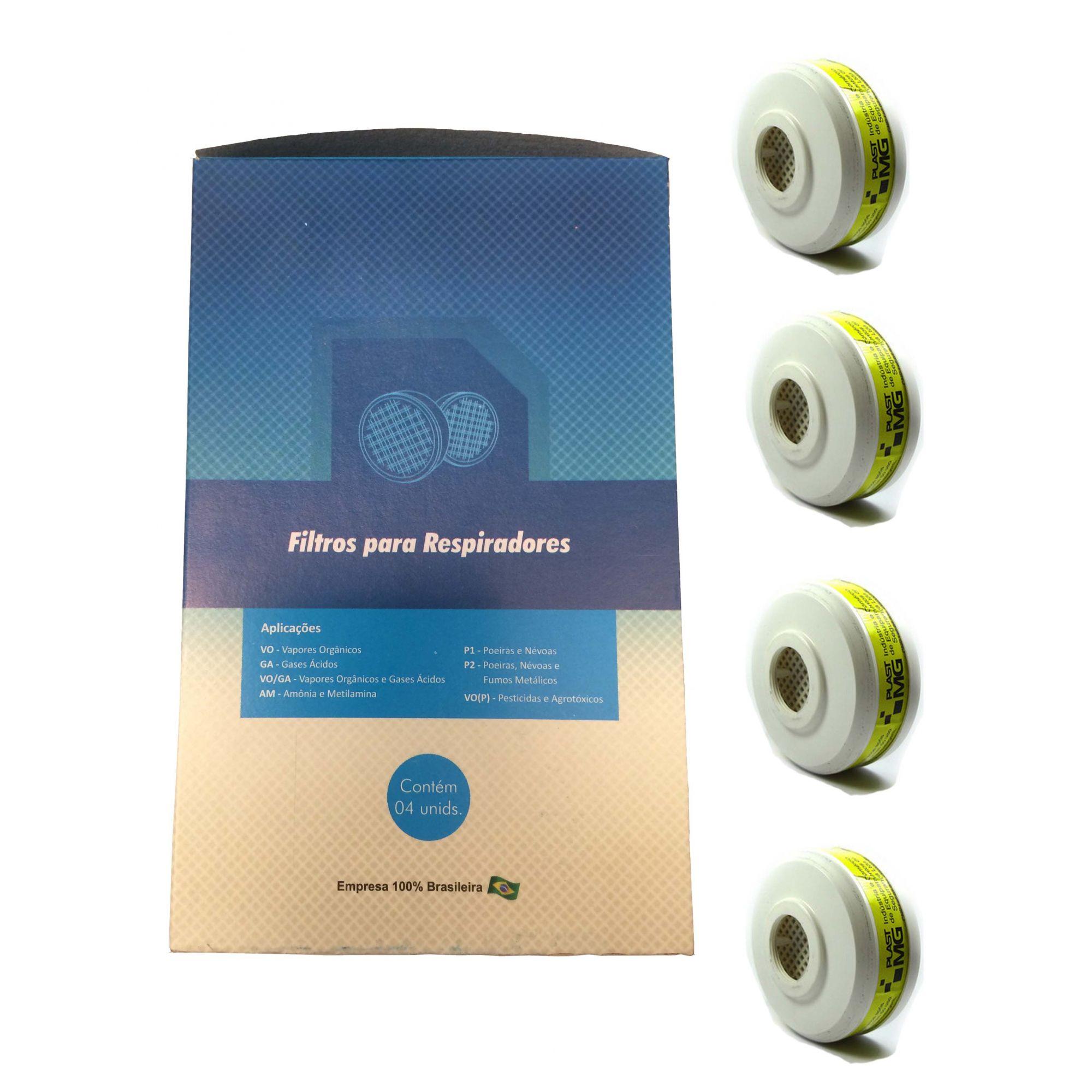 Filtro Químico VO/GA contra Vapores Orgânicos e Gases Ácidos - Caixa com 4 unidades - Plastcor