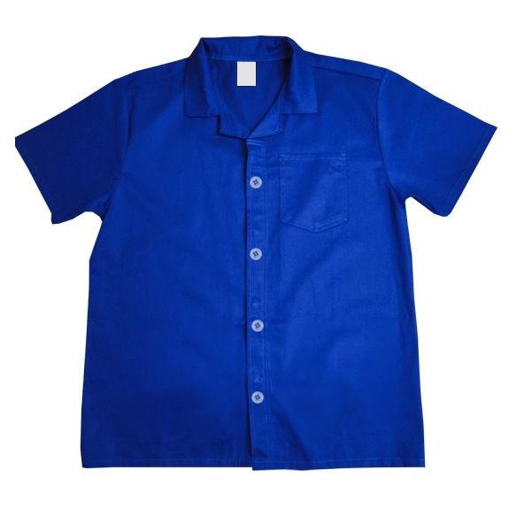 Jaleco de Brim Azul 100% Algodão Manga Curta
