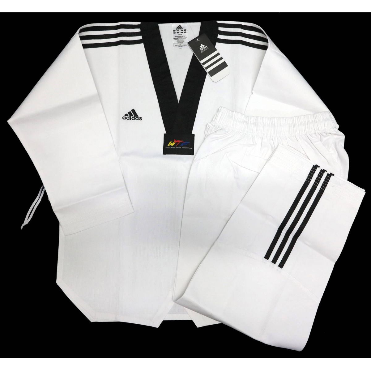 Dobok Adidas Adiclub Gola Preta (Taekwondo)