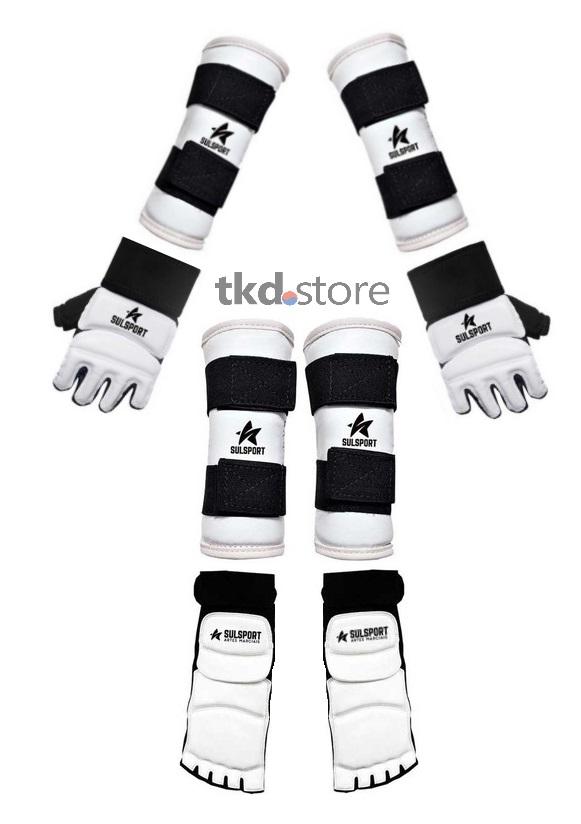 Kit de protetores p/ Taekwondo com caneleiras, luvas e meias