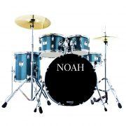 Bateria Acústica Noah Sc5 Bumbo 20 Completa Blue Sparkle