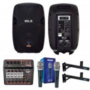 Kit Caixa De Som Ativa Passiva 250W + Mesa 6 Canais + 2 Suporte De Parede + 2 Microfones