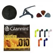 Kit De Acessórios Para Violão Encordoamento Giannini Capotraste Abafador