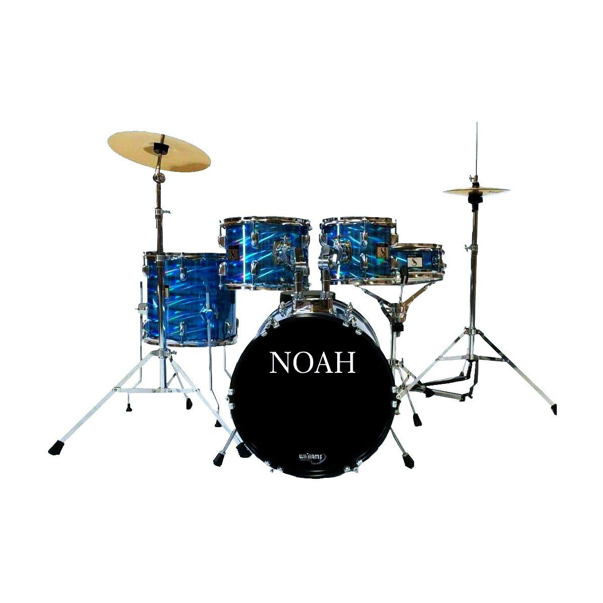 Bateria Acústica Noah Sc5 Bumbo 16 Completa Blue Wave