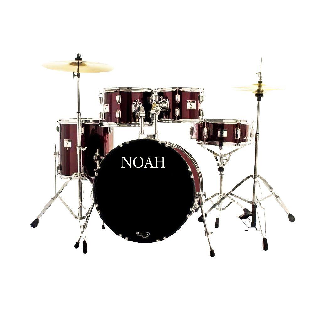 Bateria Acústica Noah Sc5 Bumbo 20 Completa Metalic Wine