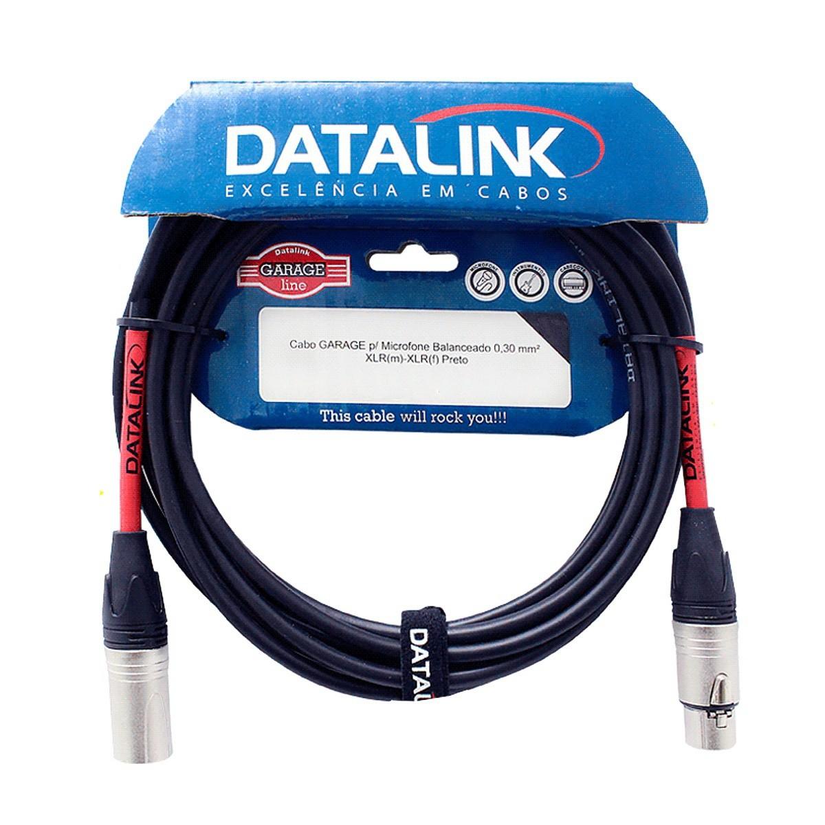 Cabo Para Microfone Xlr Xlr Balanceado Datalink Garage 1m