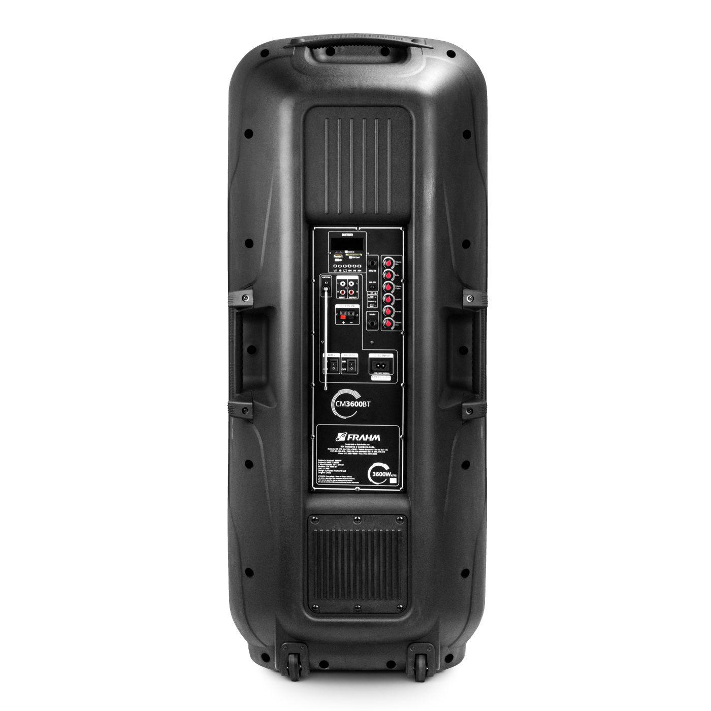 Caixa Amplificada Com Bateria Frahm Cm3600 Bt 2x Falante 15 1200W Rms