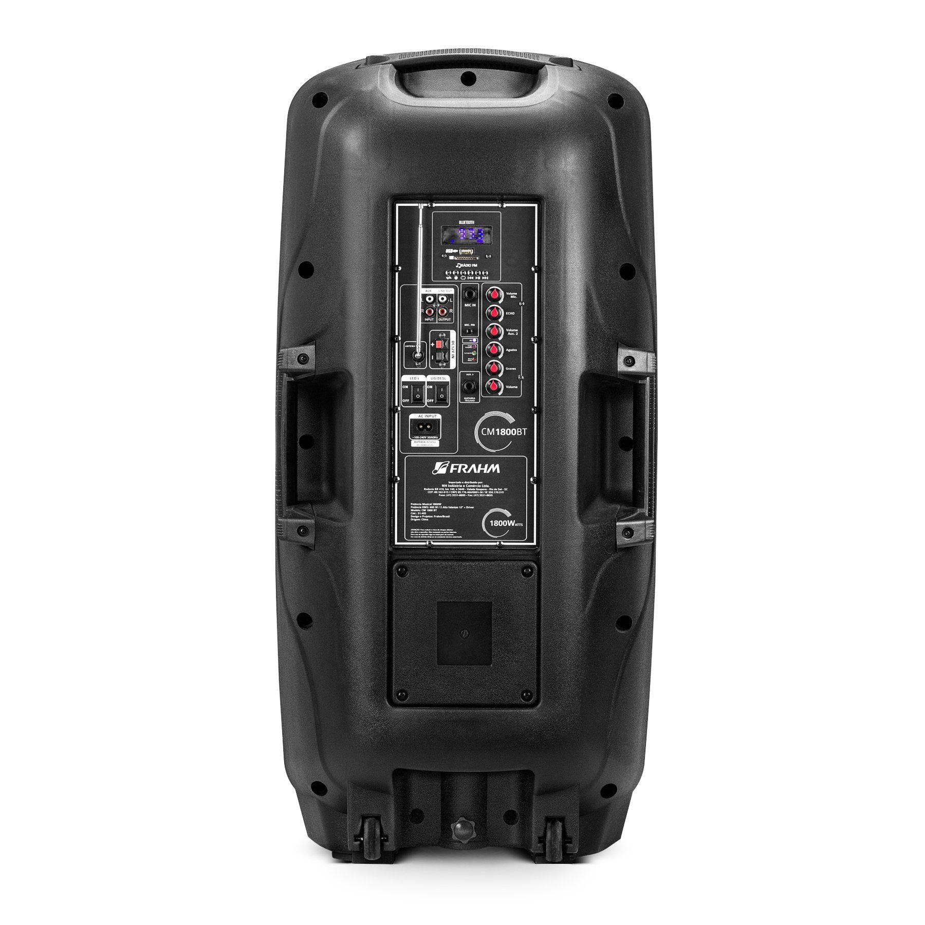 Caixa Amplificada Com Bateria Frahm Cm1800 Bt 2x Falante 12 600W Rms