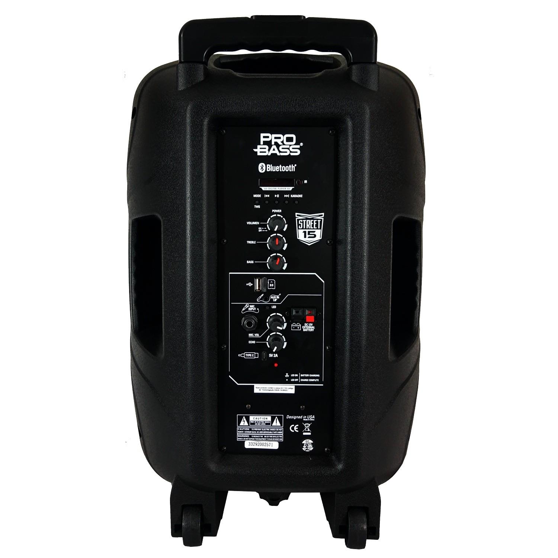 Caixa De Som Ativa Pro Bass Street 15 Bluetooth 120w Rms Com Bateria