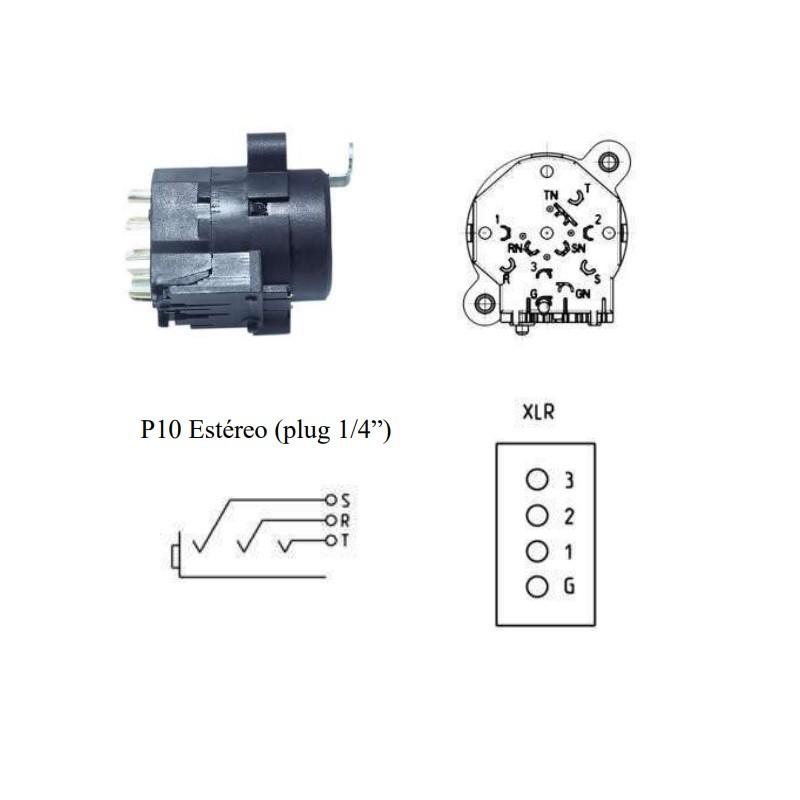 Conector Híbrido Para Medusa Xlr P10 Datalink Xlr007