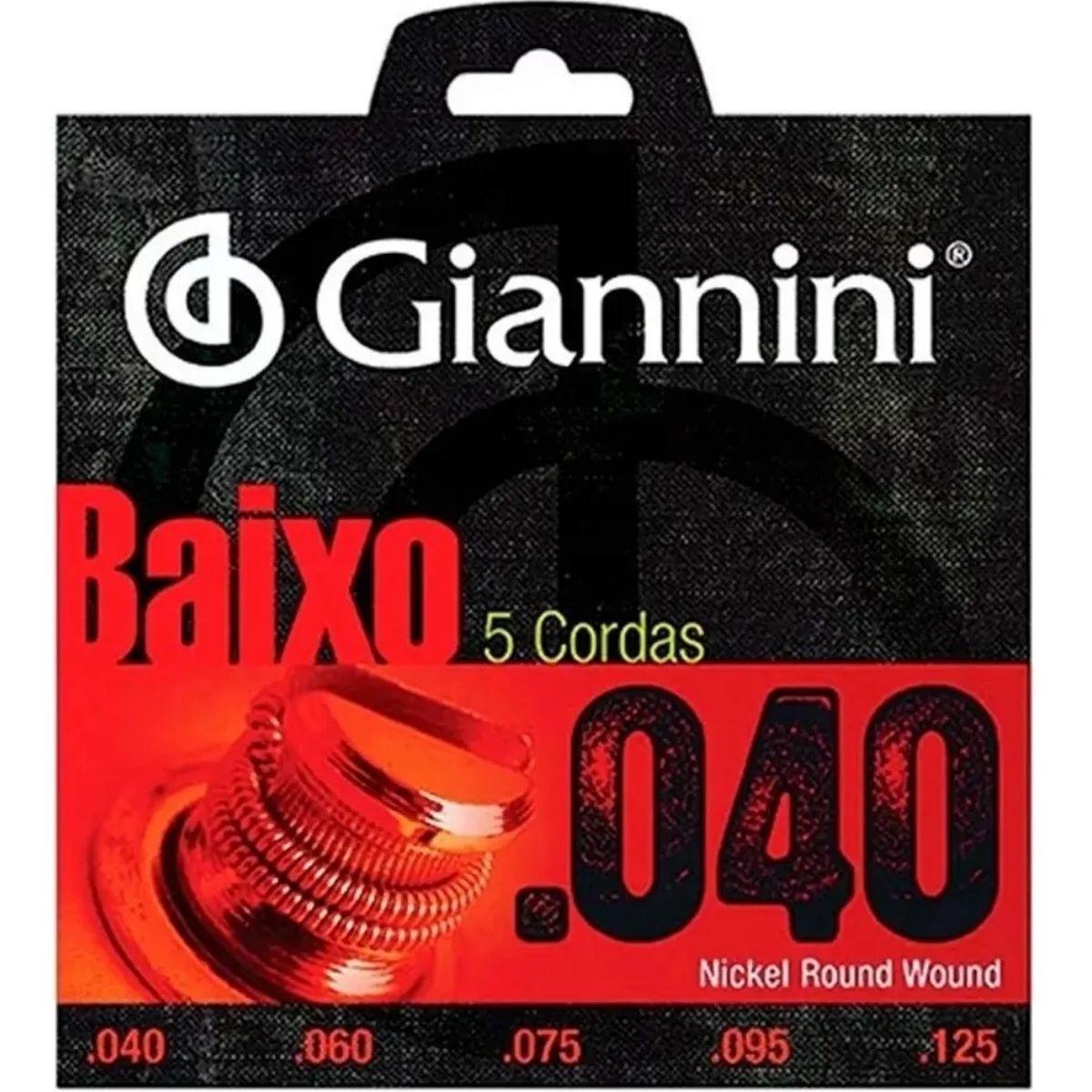 Encordoamento Contra Baixo 5 Cordas Giannini Niquel Geebrl 5 0.40 Leve