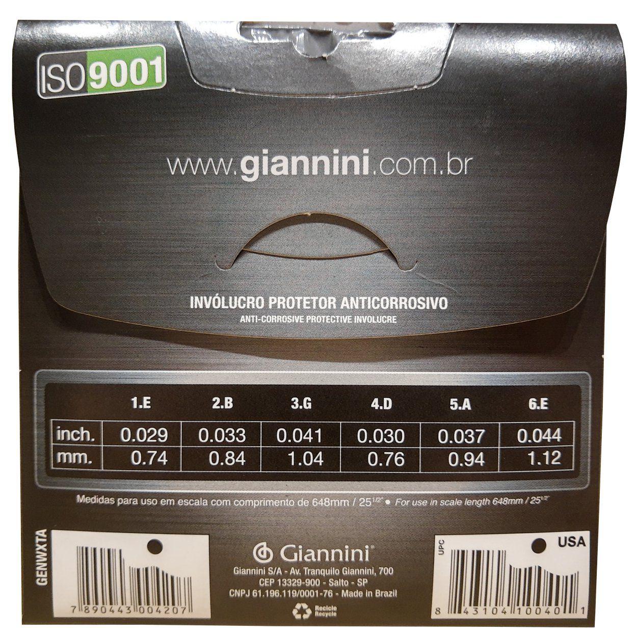 Encordoamento Violão Nylon Giannini Titanium Genwxta Extra Pesada