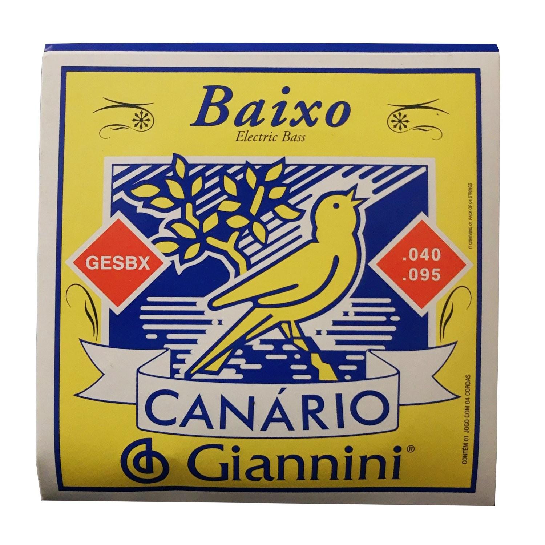 Encordoamento Contra Baixo 4 Cordas Giannini Canario Gesbx 0.40