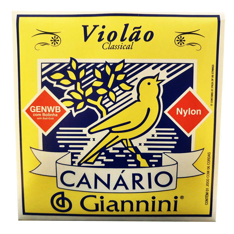 Encordoamento para Violao Nylon Giannini Canario Com Bolinha Genwb
