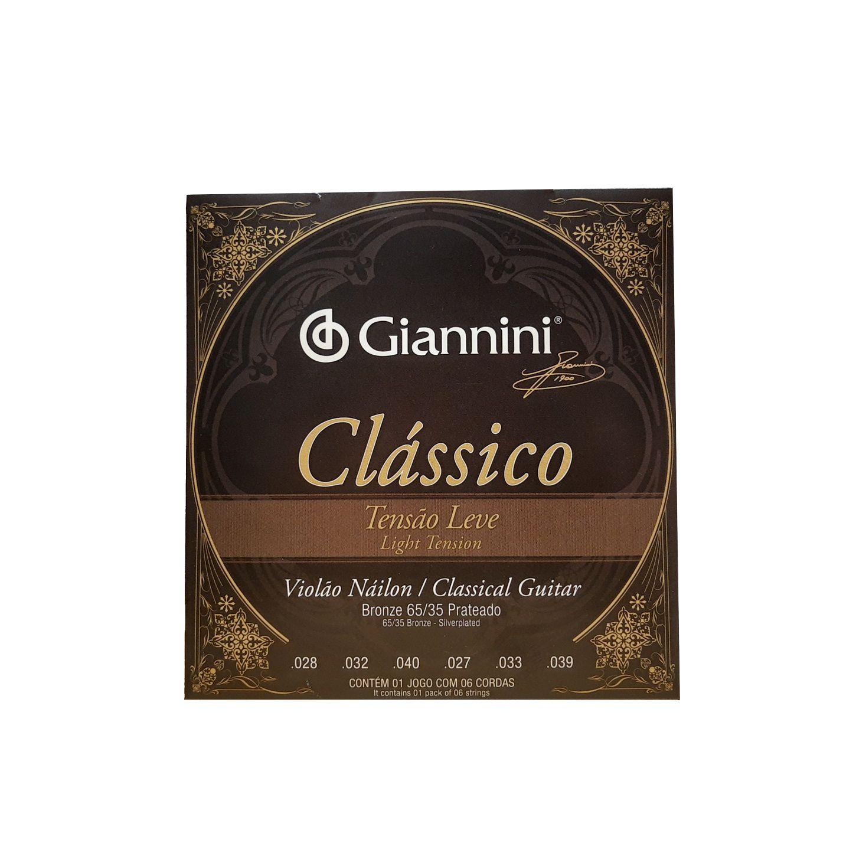 Encordoamento para Violao Nylon Giannini Classico Tensao Leve Genwpl