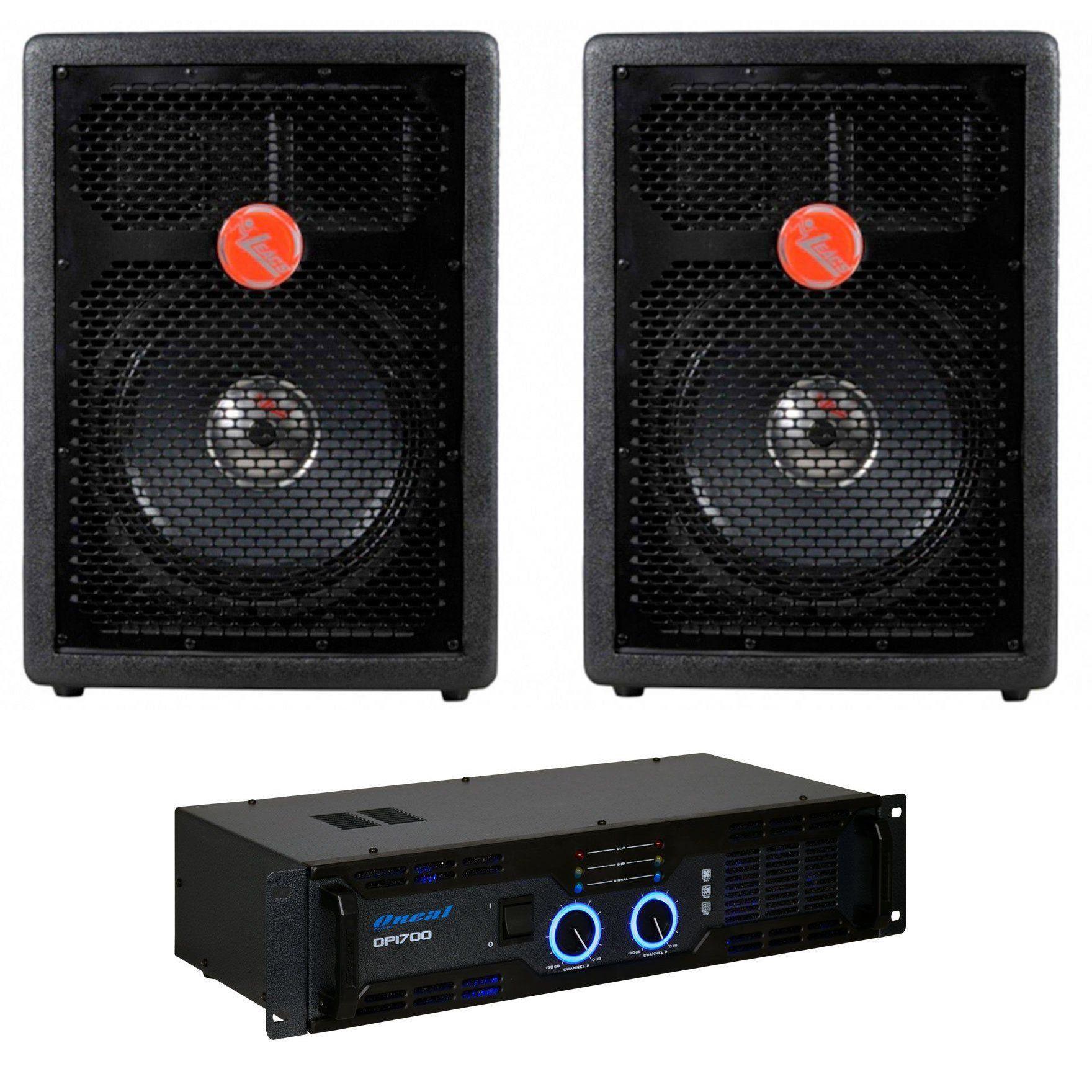 Kit 2 Caixa Acústica Leacs Fit320 + Amplificador Oneal Op1700