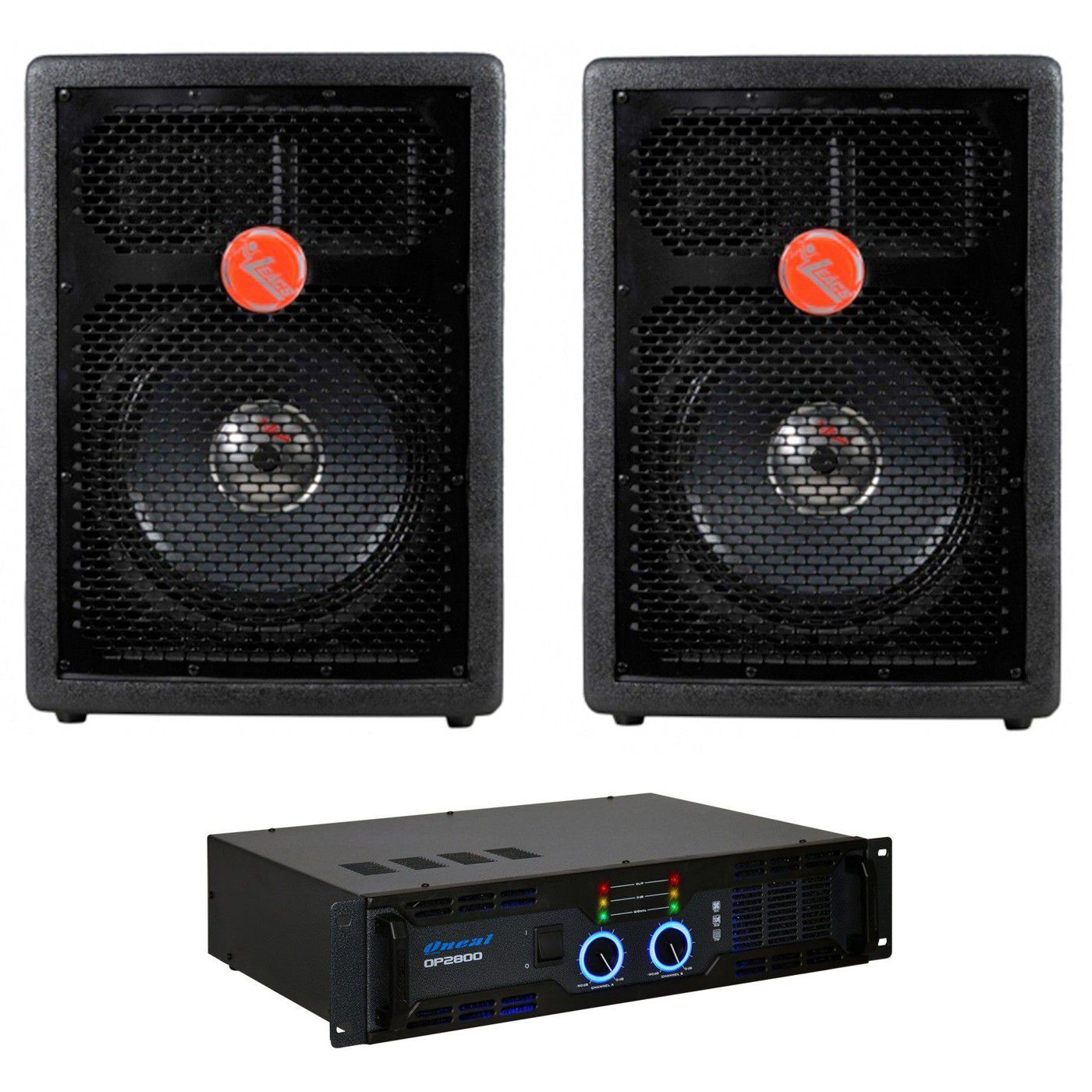 Kit 2 Caixa Acústica Leacs Fit550 + Amplificador Oneal Op2800