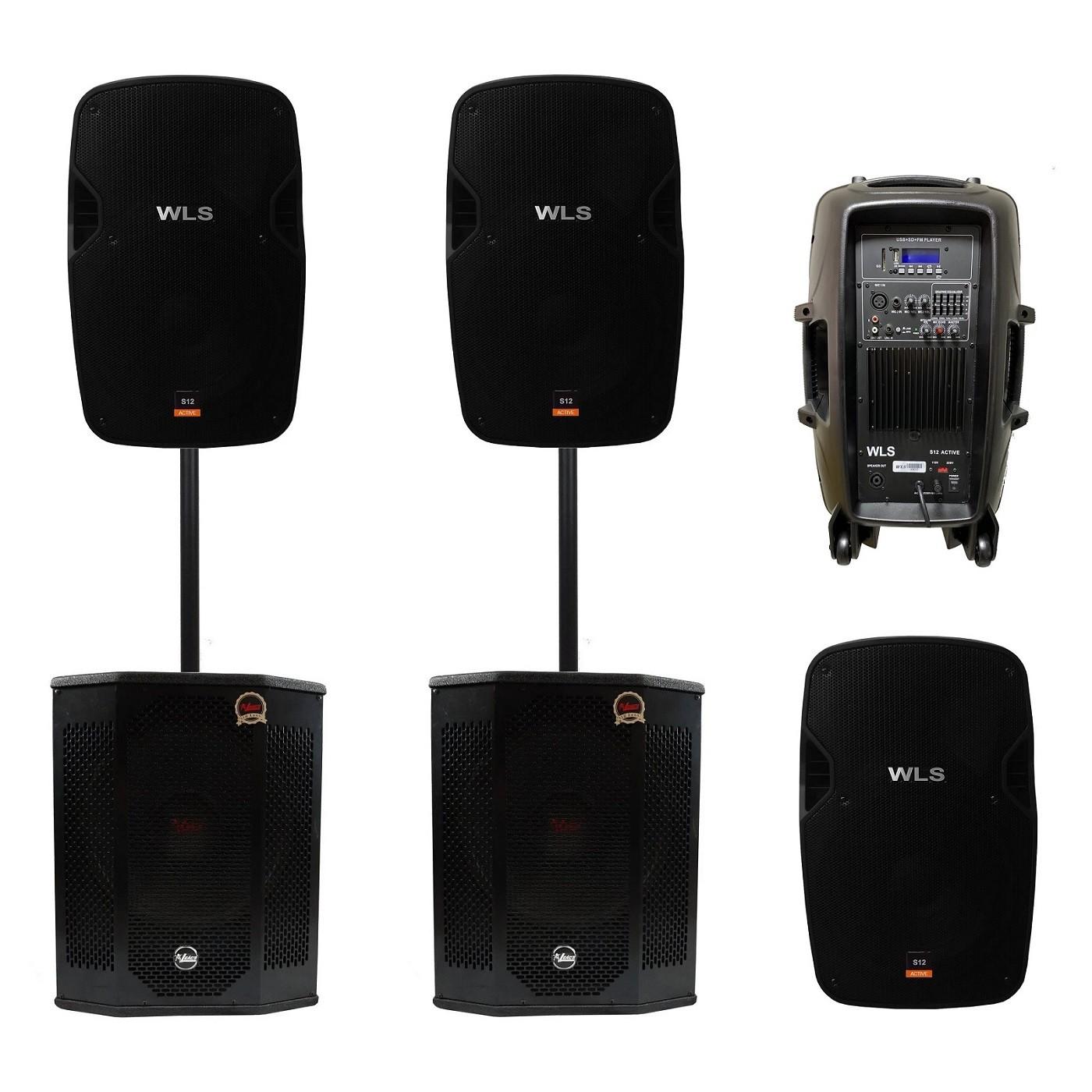 Kit 4 Caixa Ativa Passiva Wls S12 + Sub Woofer Leacs Sli1500