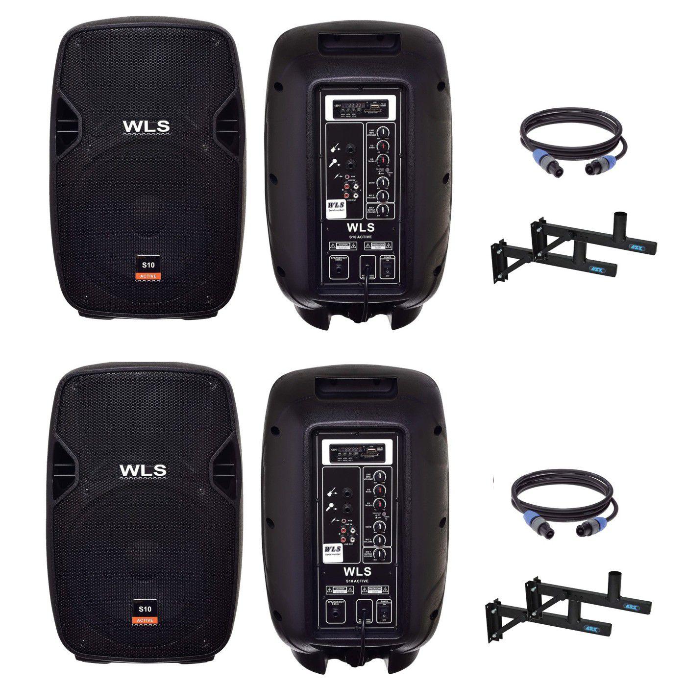 Kit 4 Caixa De Som Ativa Passiva Wls S10 Bluetooth 500w Rms + Suporte E Cabo