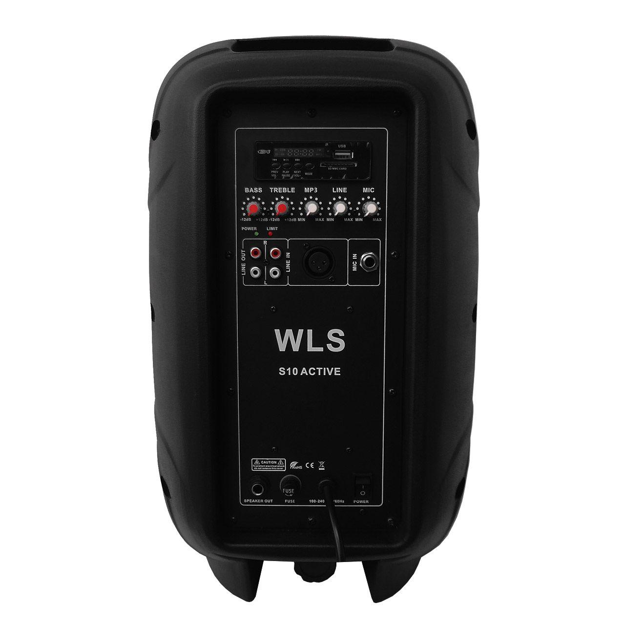 Kit 4 Caixa De Som Ativa Passiva Wls S10 + Suportes + Mesa Omx8 + Microfone Vws20