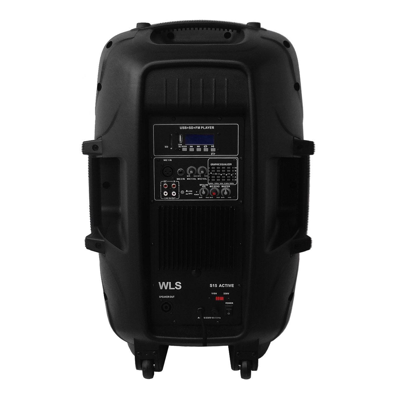 Kit Caixa De Som Ativa Passiva Wls S15 Bluetooth 430w Rms + Cabo