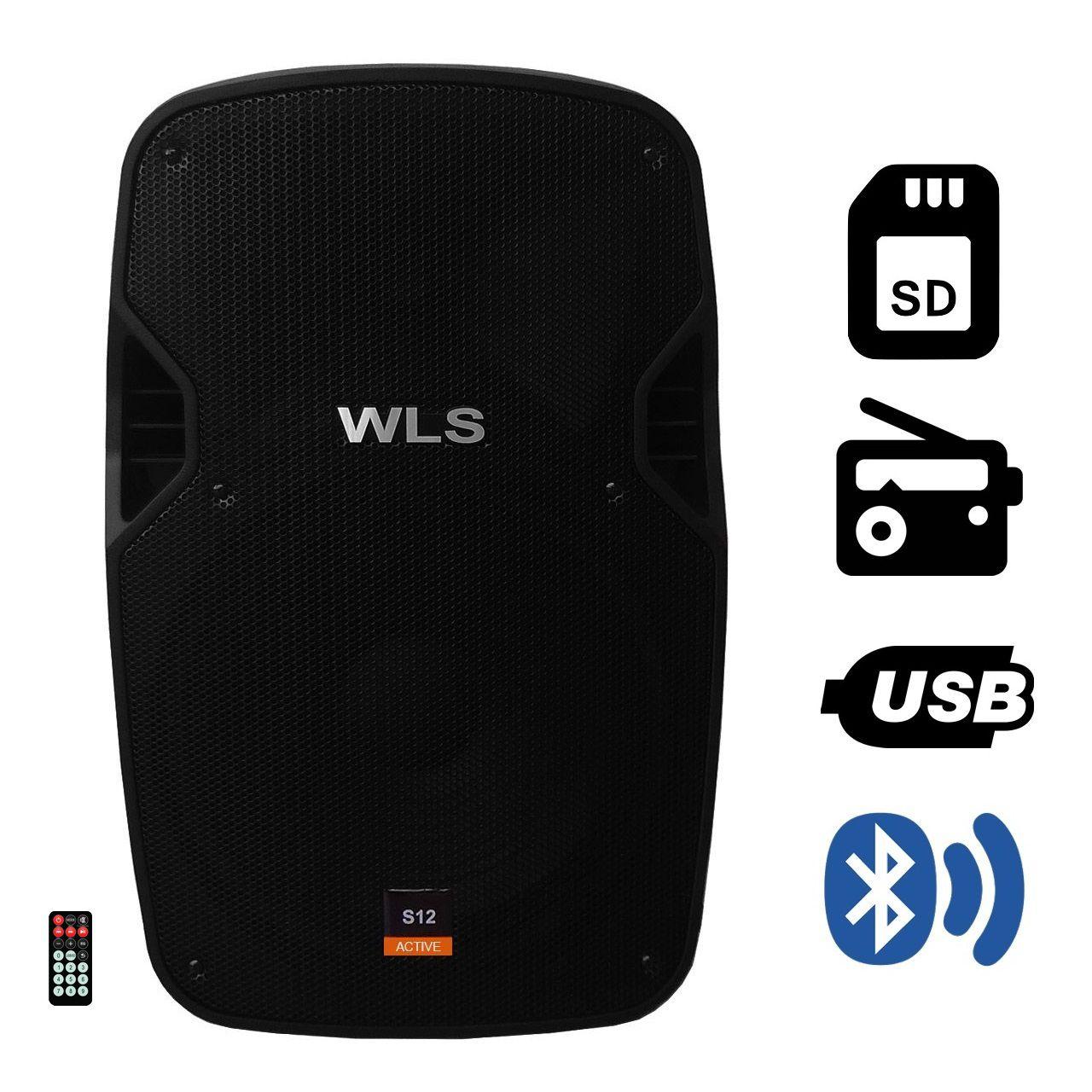 Kit Caixa de Som Ativa Passiva Wls S12 Bluetooth 430w Rms + Tripe e Cabo