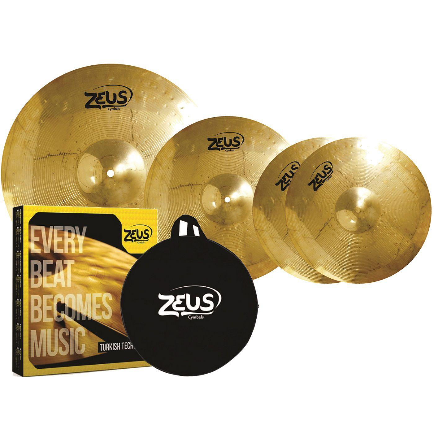 Kit De Prato Zeus Beginner Brass Set C 14 16 20 Com Bag