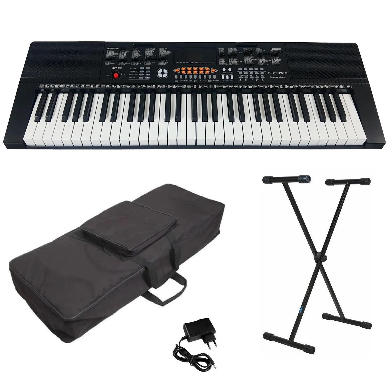 Kit Teclado Musical 5/8 Estudante Keypower Kp100 + Capa Suporte