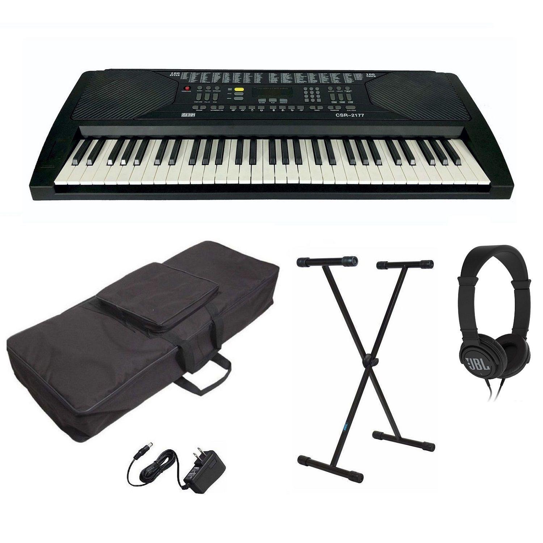 Kit Teclado Musical Arranjador Csr2177 + Suporte Capa Fone