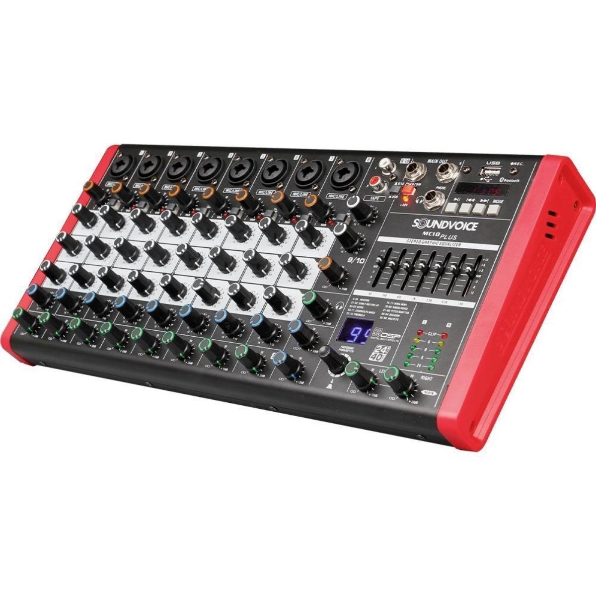 Mesa De Som 10 Canais Soundvoice  Mc10 Plus Eux Efeito Usb