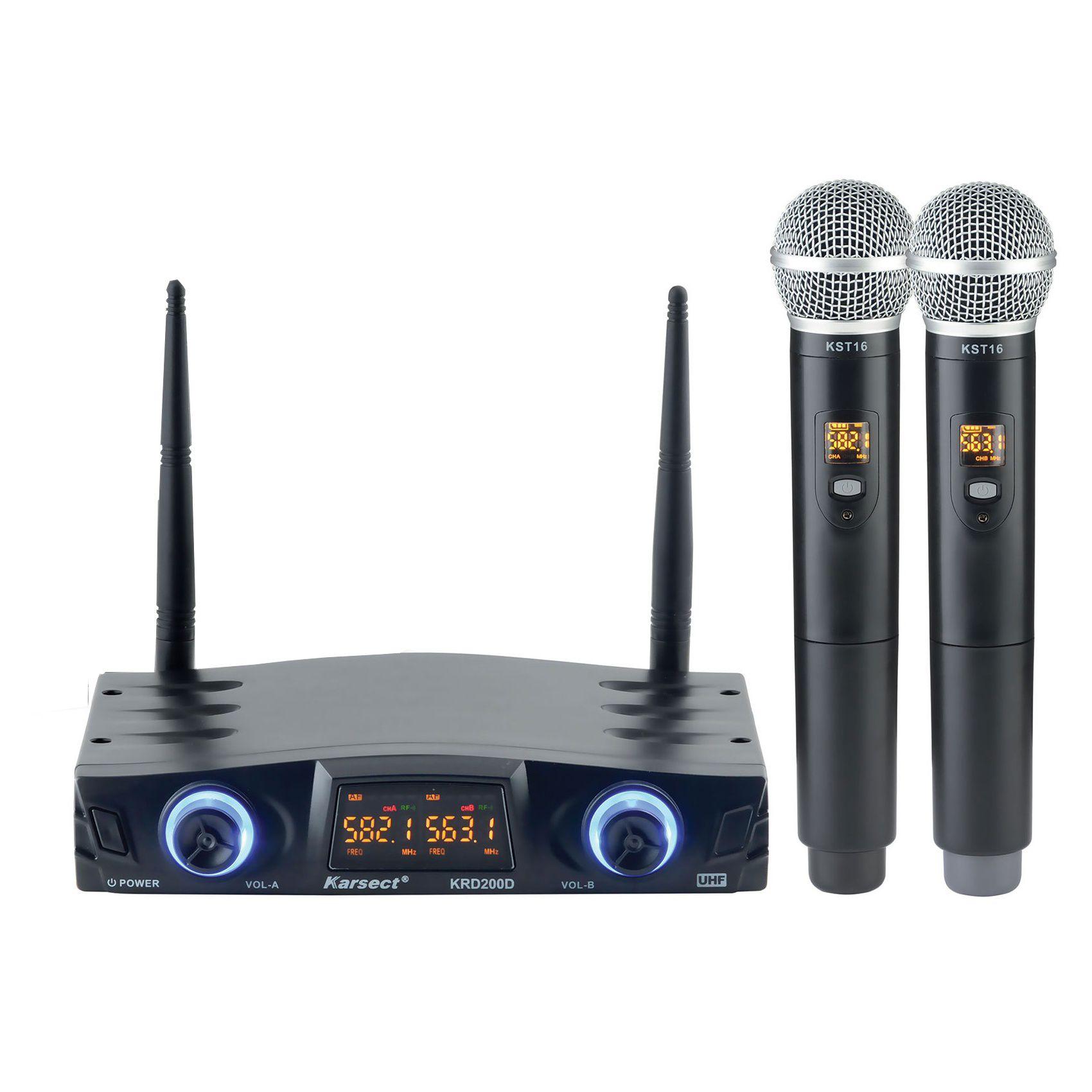 Microfone Karsect Sem Fio Krd200 Dm Uhf Duplo Mao