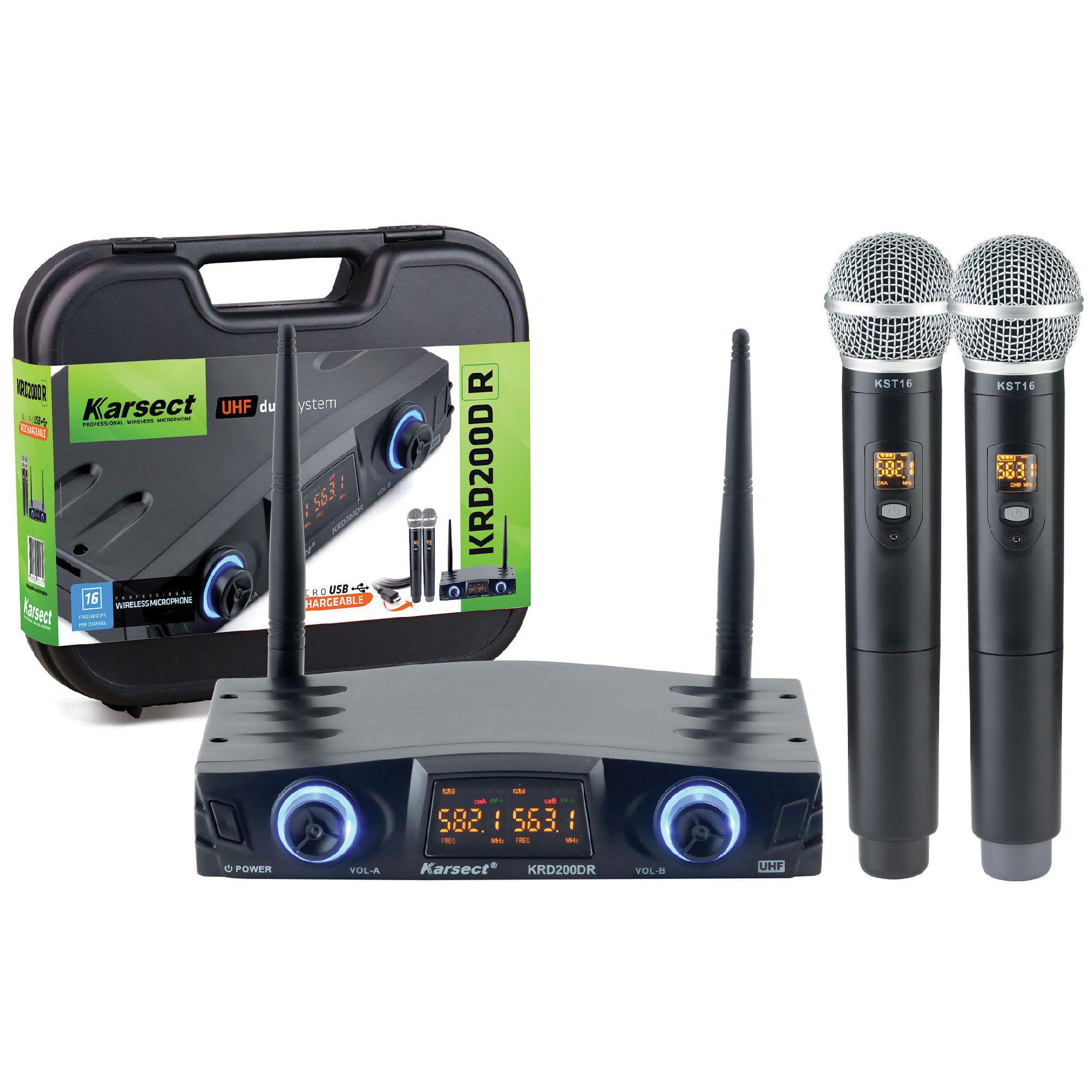 Microfone Karsect Sem Fio Krd200 Dr Bateria Recarregável