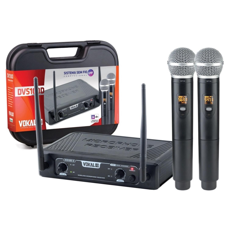 Microfone Sem Fio Vokal Dvs100 Dm Uhf Duplo Mão