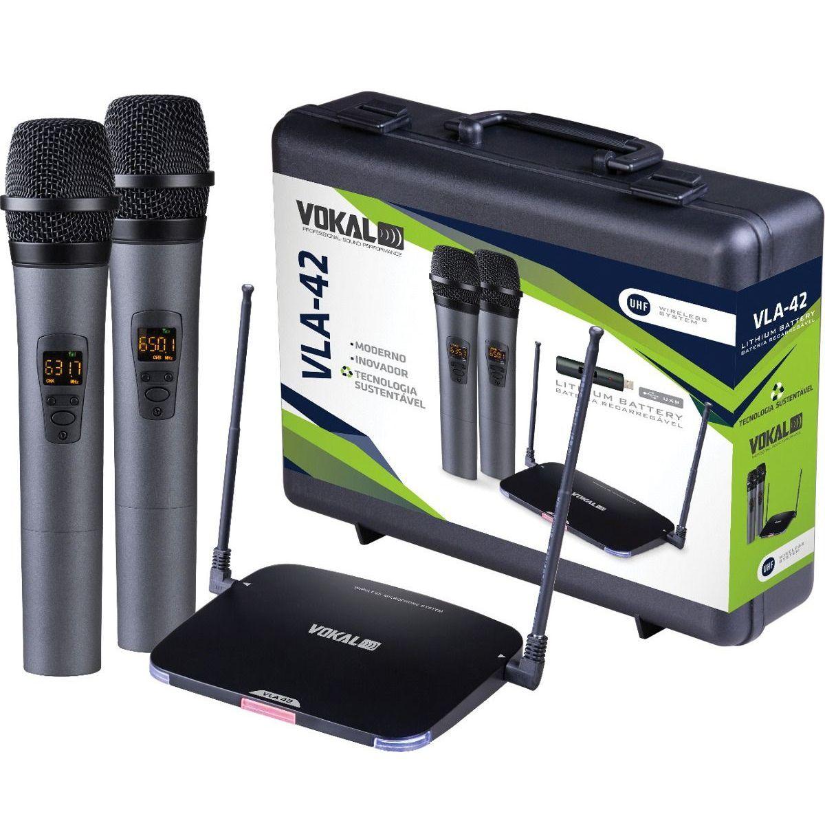 Microfone Sem Fio Vokal Vla42 + 2 Espumas + 2 Baterias Extras