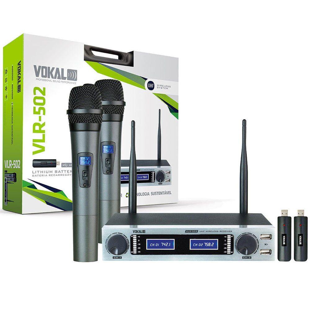 Microfone Sem Fio Vokal Vlr502 Uhf Duplo