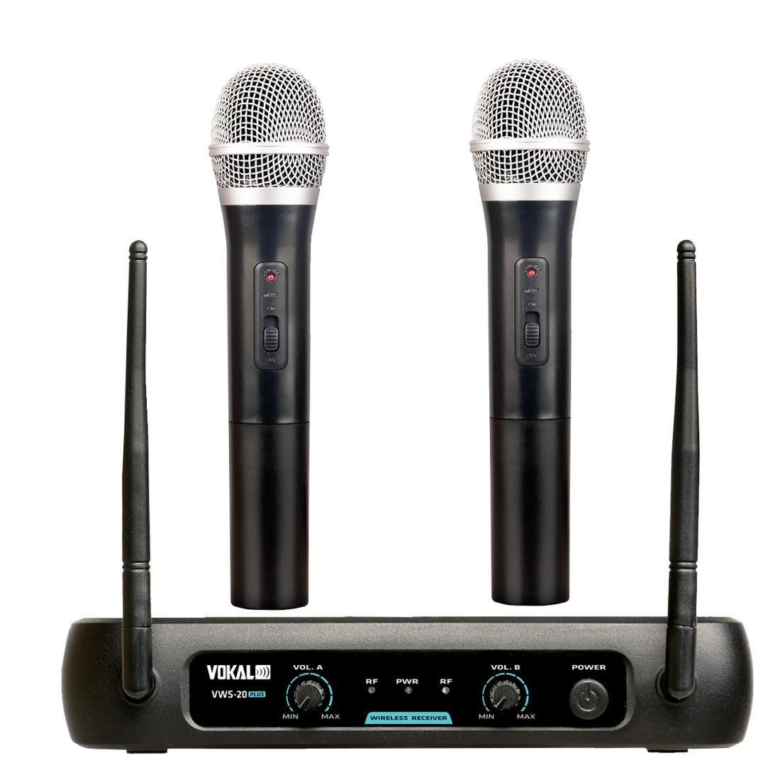 Microfone Sem Fio Vokal Vws20 Plus Duplo + 2 Espumas