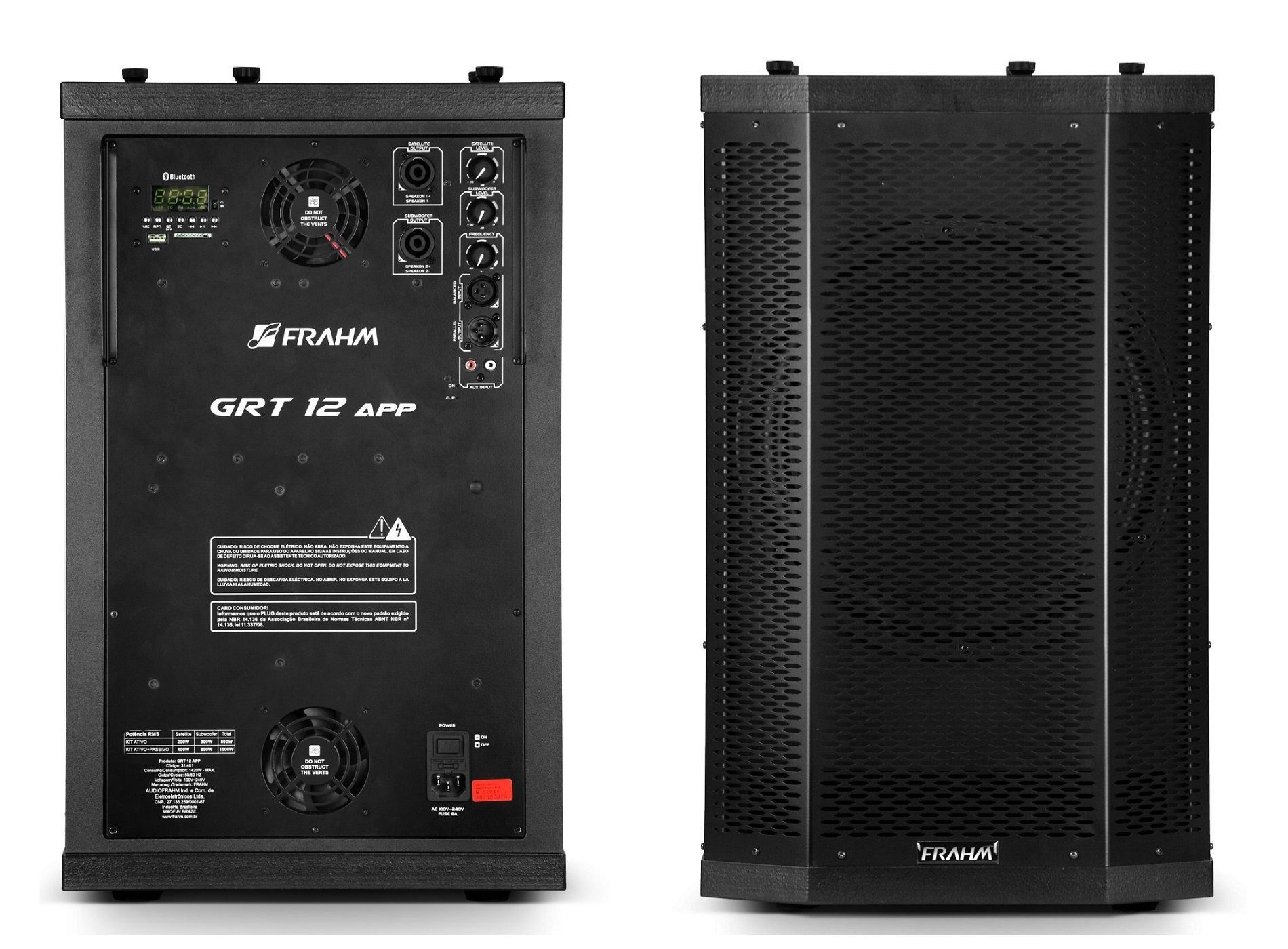 Sistema Pa Ativo E Passivo 1000W Sub Woofer Grt12 App + Gr12 Frahm