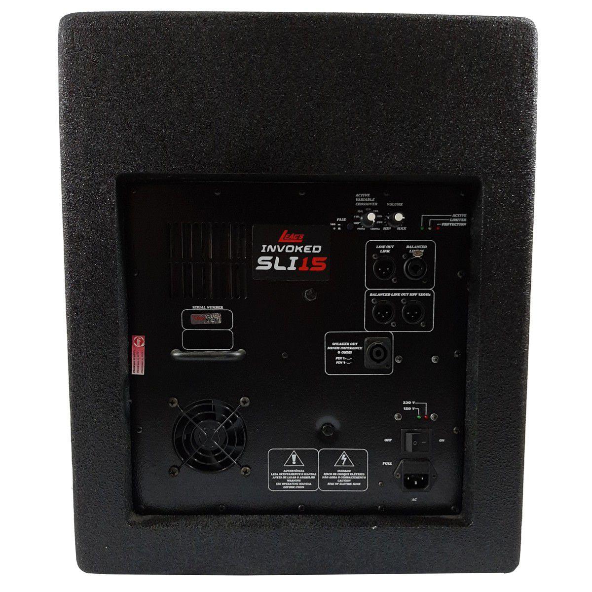 Sistema Pa Sub Woofer Leacs Sli1500 + Frontal e Retorno Brava 1200
