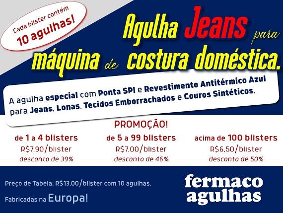 Promoção de Agulha Jeans para máquina de costura doméstica. Agulha para Jeans, Lonas, Tecidos Emborrachados e couros sintéticos. 3 numerações disponíveis com revestimento antitérmico!