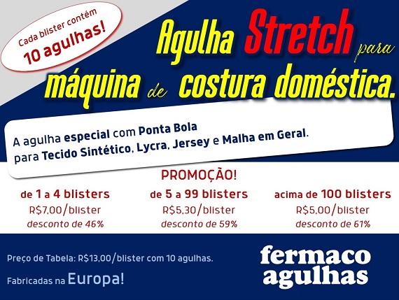 Promoção de Agulha Stretch para máquina de costura doméstica. Agulha para Tecidos Sintéticos, Lycra, Jersey e Malha em Geral. 2 numerações disponíveis!