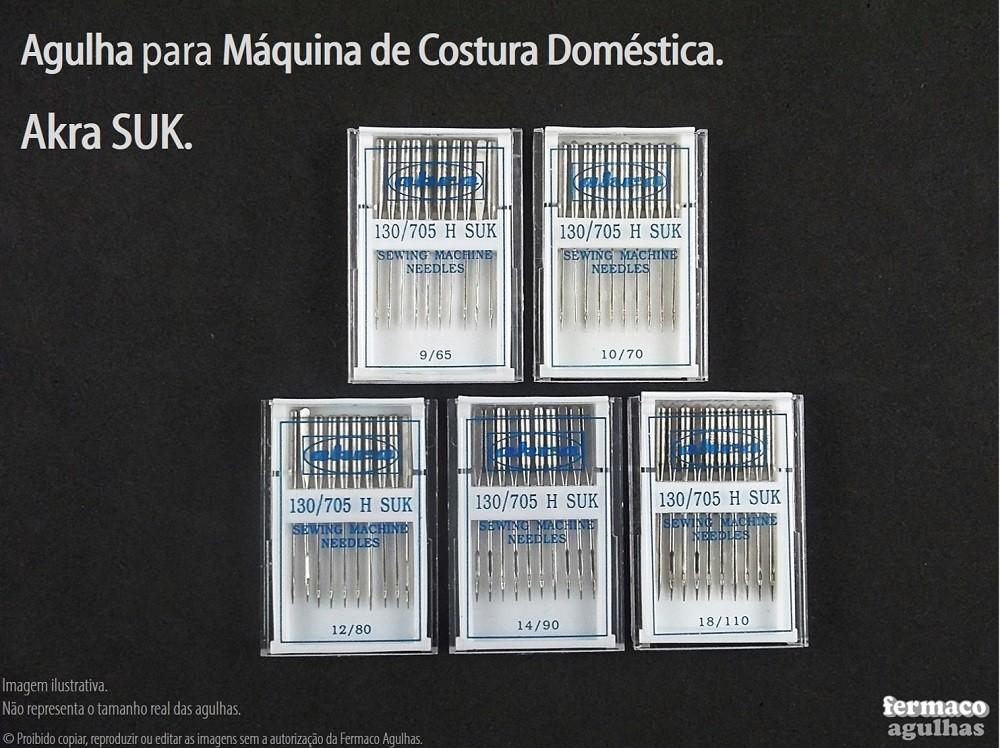 Promoção de Agulha Suk para máquina de costura doméstica. Agulha para Uso Geral e em especial para Tecidos de Malha. 5 numerações disponíveis!