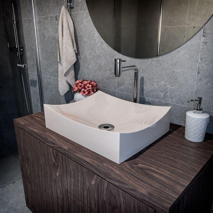 Cuba de Apoio Para Banheiro Modelo Milano 46 Cm Marmorite Bege