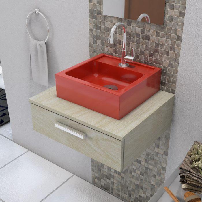 Cuba de Apoio para Banheiro Modelo Jully Vermelho