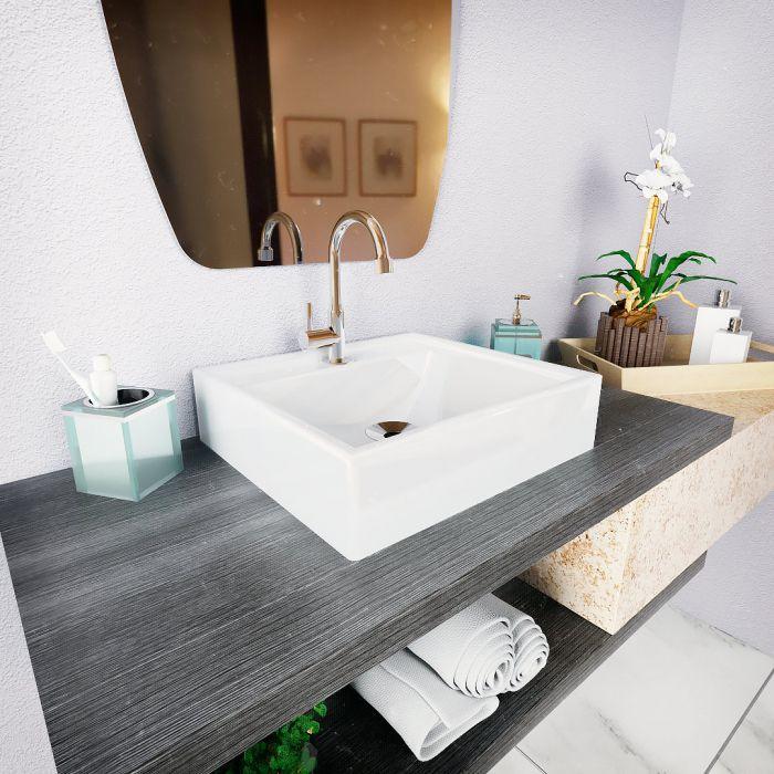 Cuba de Apoio para Banheiro e Lavabo Modelo Ravena Branca