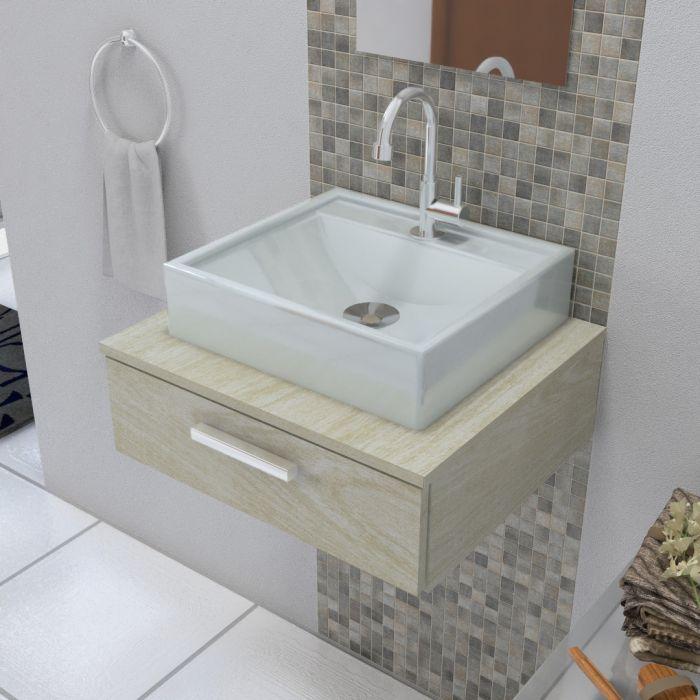 Cuba de Apoio para Banheiro e Lavabo Modelo Ravena Cinza